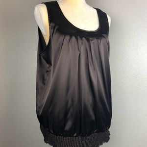 AGB Sleeveless Front Pleated Gathered Waist Blouse
